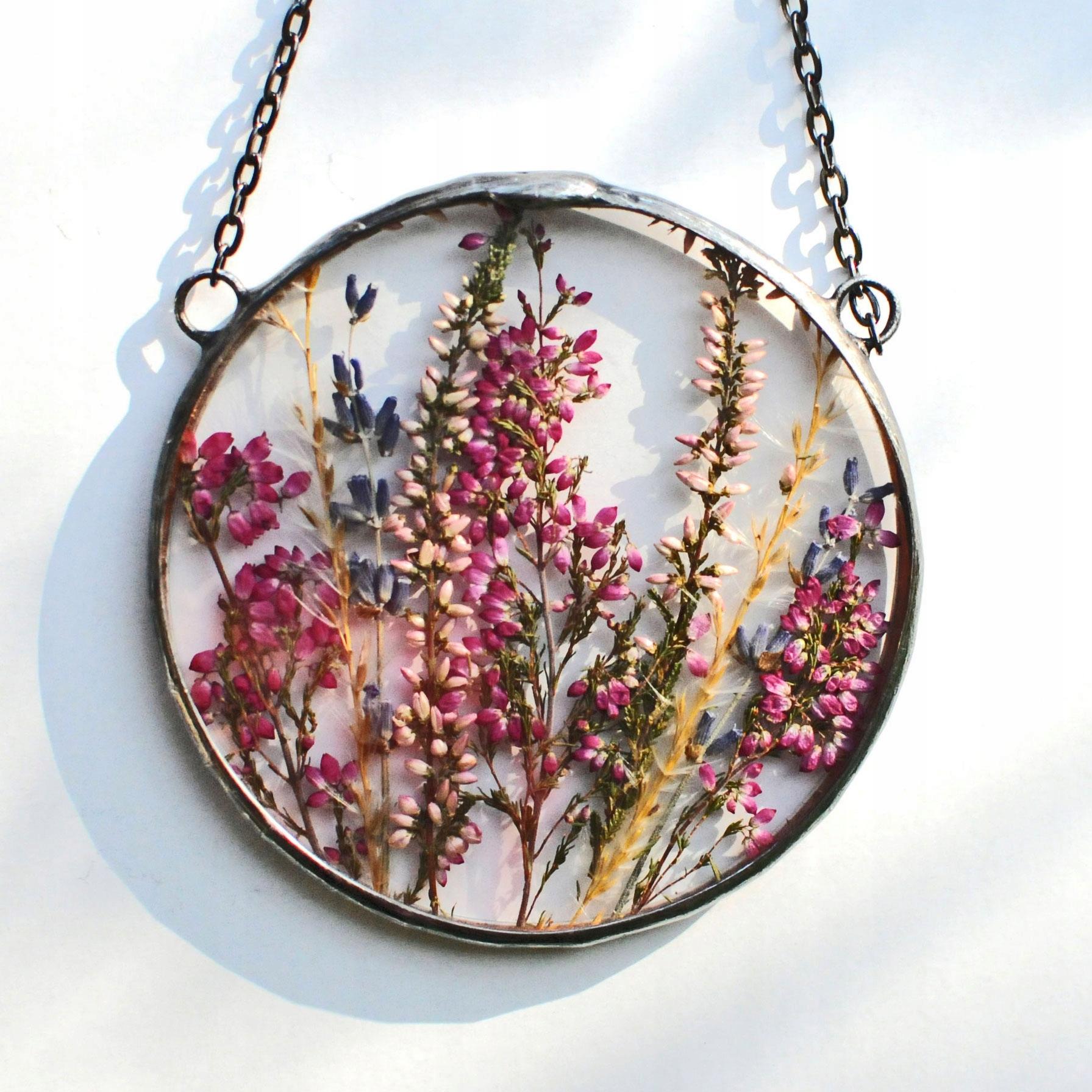 Suszone kwiaty, dekor terrarium, Mariaela wisior