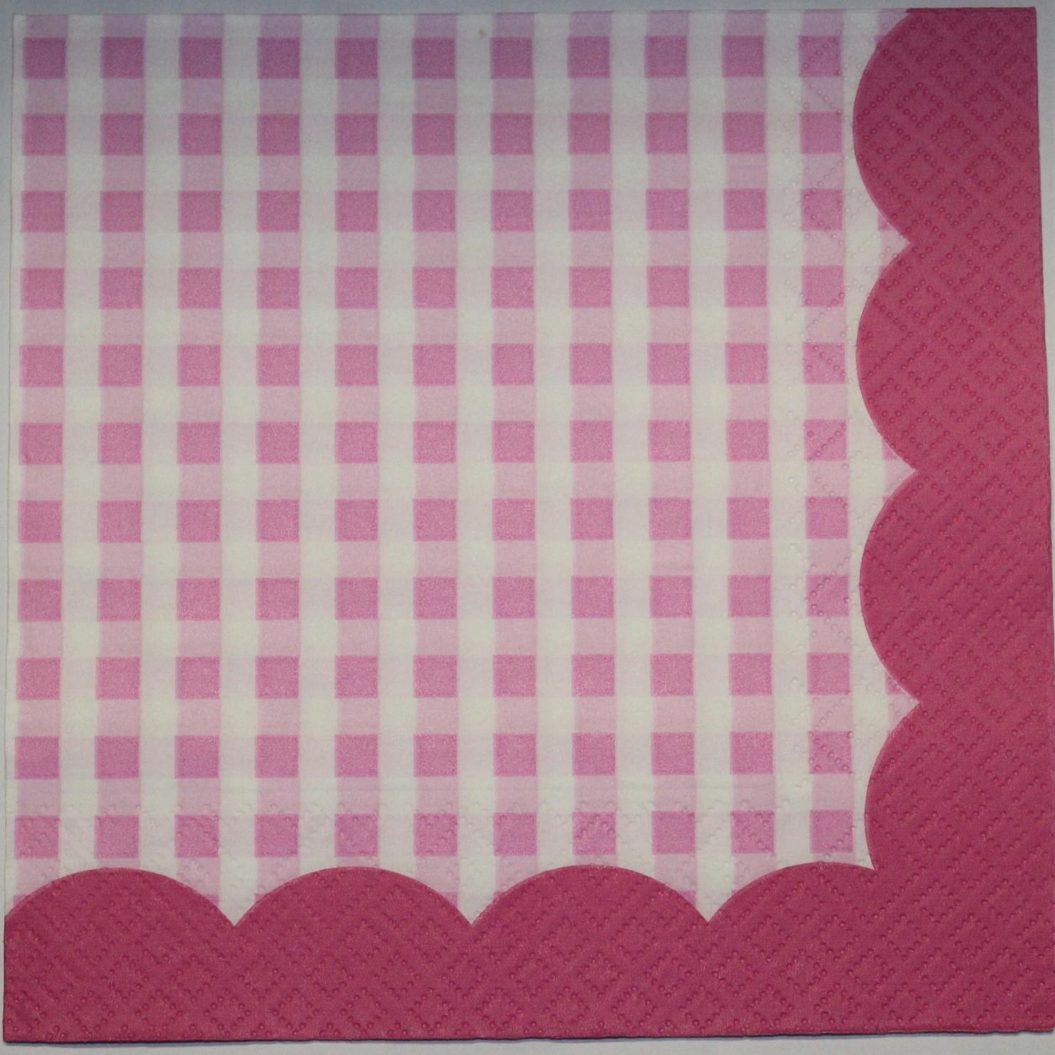 Салфетки для декупажа 3 шт. Розовый тартан