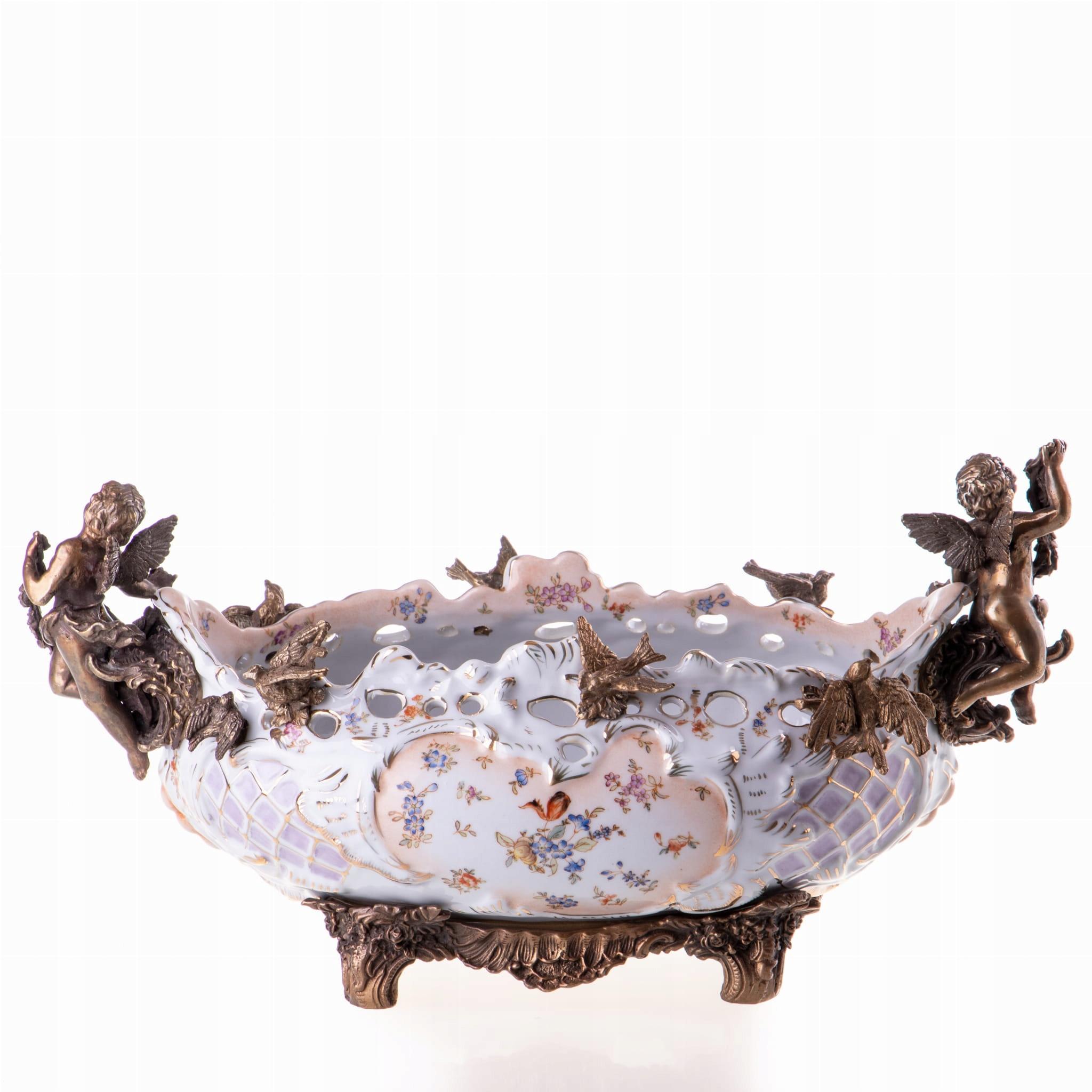 Biely retro bronzový porcelánový tanier