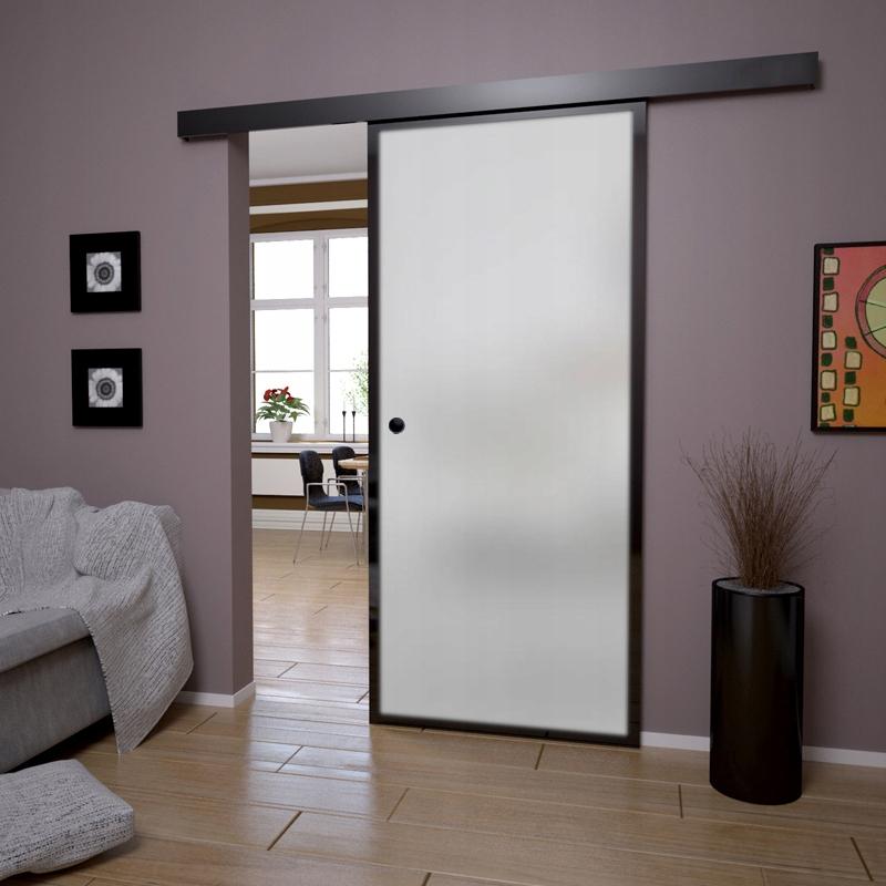 Drzwi Szklane Przesuwne Czarne z Muszelką Satyna Kolor wykończenia czarne