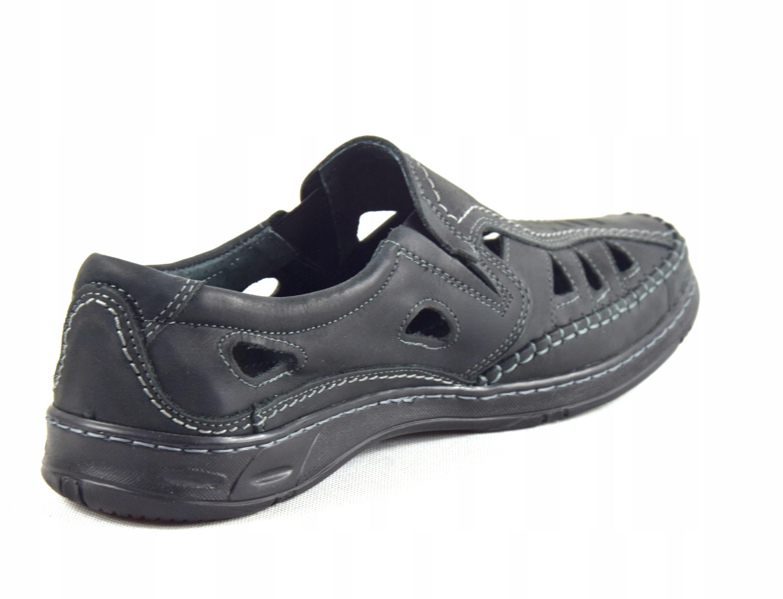 Męskie buty skórzane polskie mokasyny skóra 0270CC Długość wkładki 26.5 cm