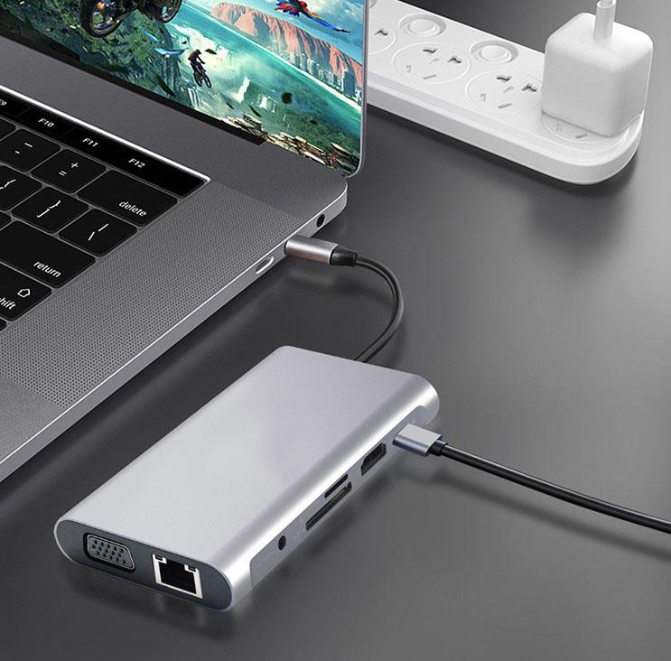 HUB USB-C 11w1 Adapter HDMI 4K VGA Jack SD RJ45 M1 EAN 0606707964364