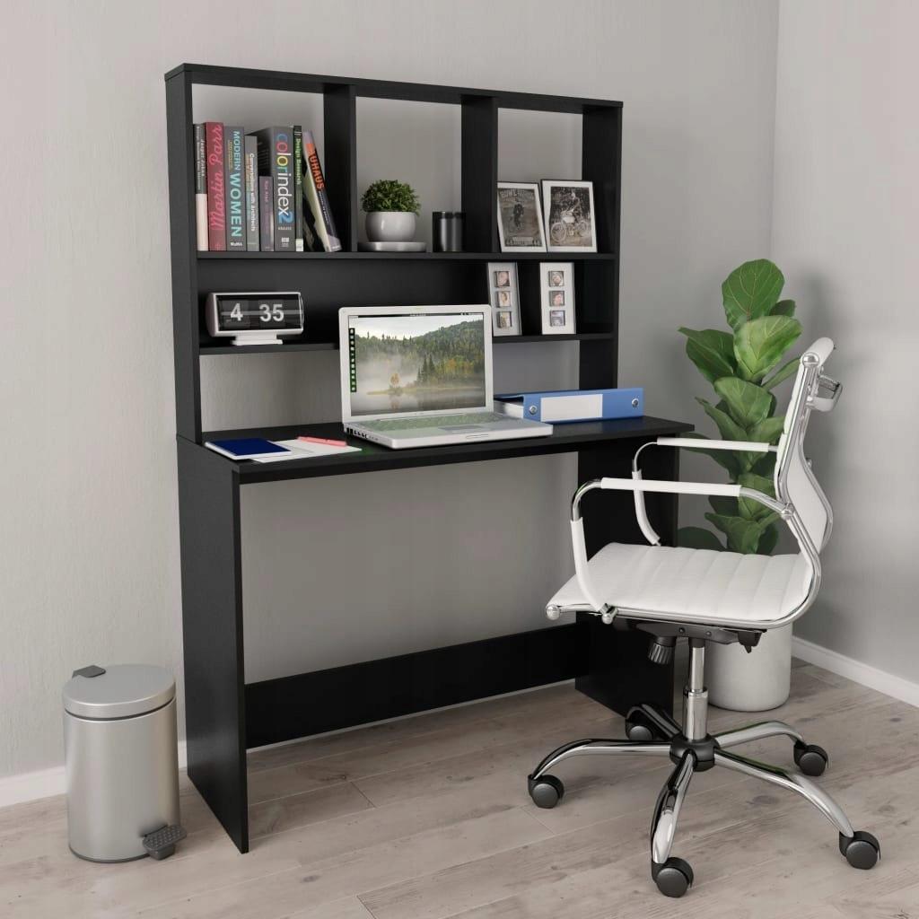 Písací stôl s policami, čierna, 110x45x157 cm