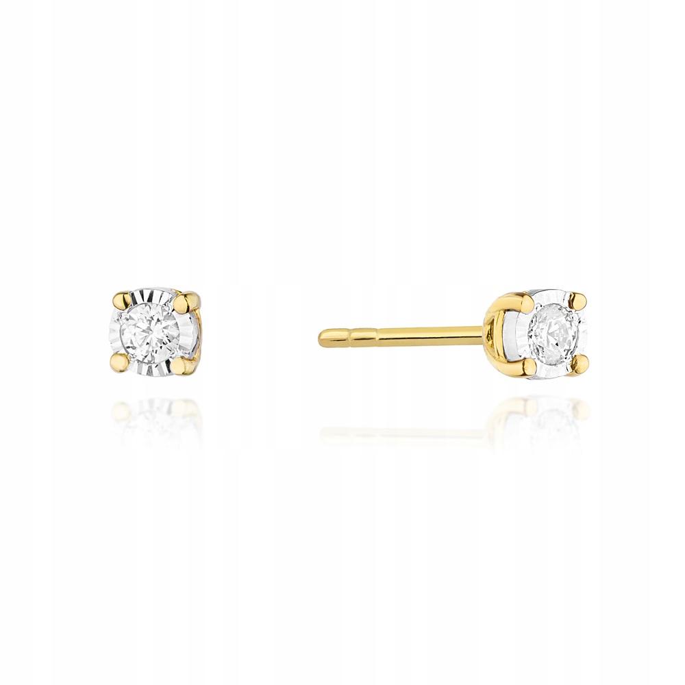 Zlaté náušnice s diamantmi a skrutky 585