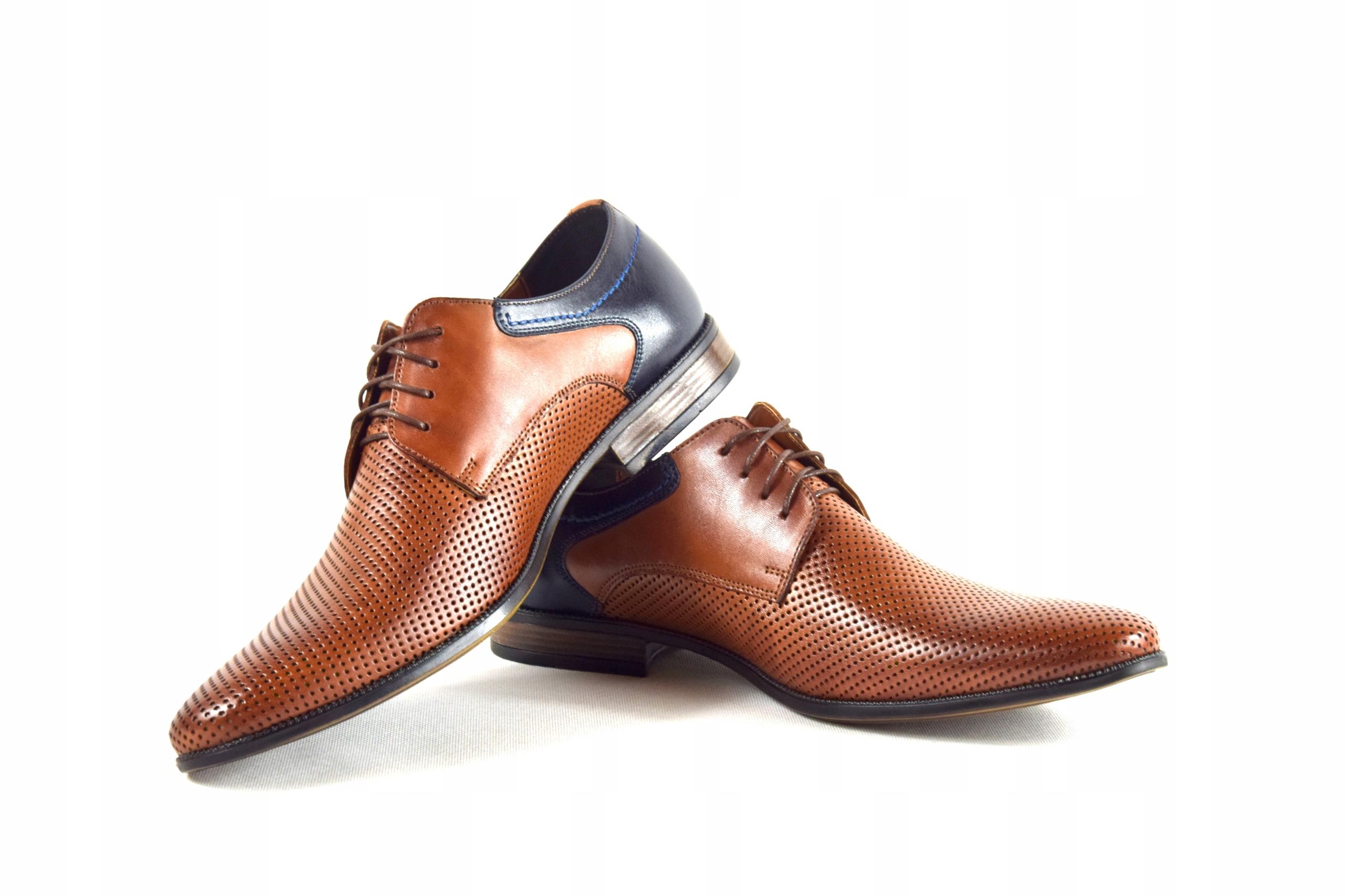 Buty męskie wizytowe skórzane brązowe obuwie 322 Kolor brązowy