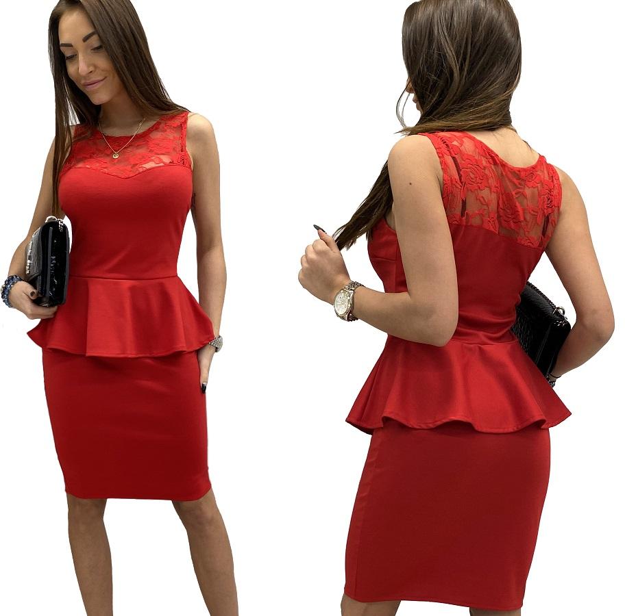 Czerwona sukienka Baskinka koronka 42 Dłuższa ?