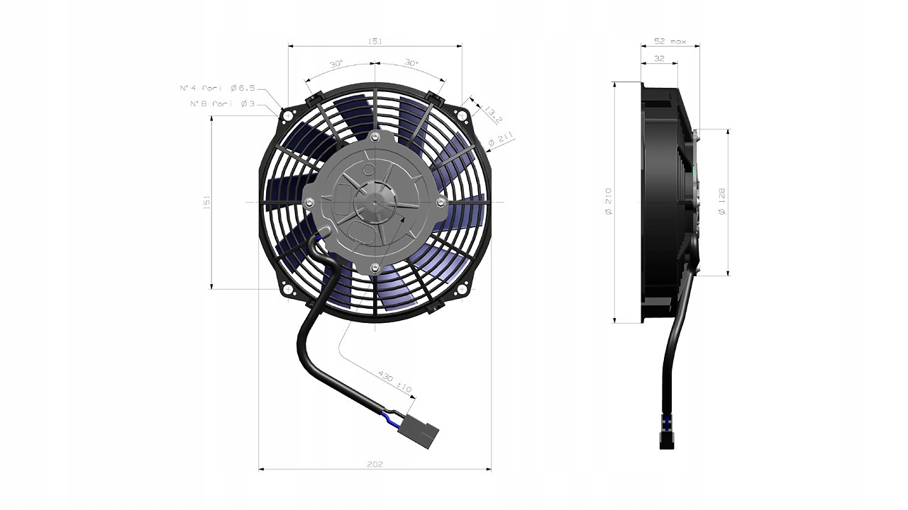 вентилятор бп 190mm 12v всасывающий va14-ap11c-34a