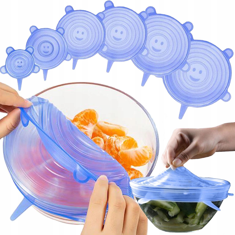 Pokrywki Silikonowe Uniwersalne do Żywności 6szt