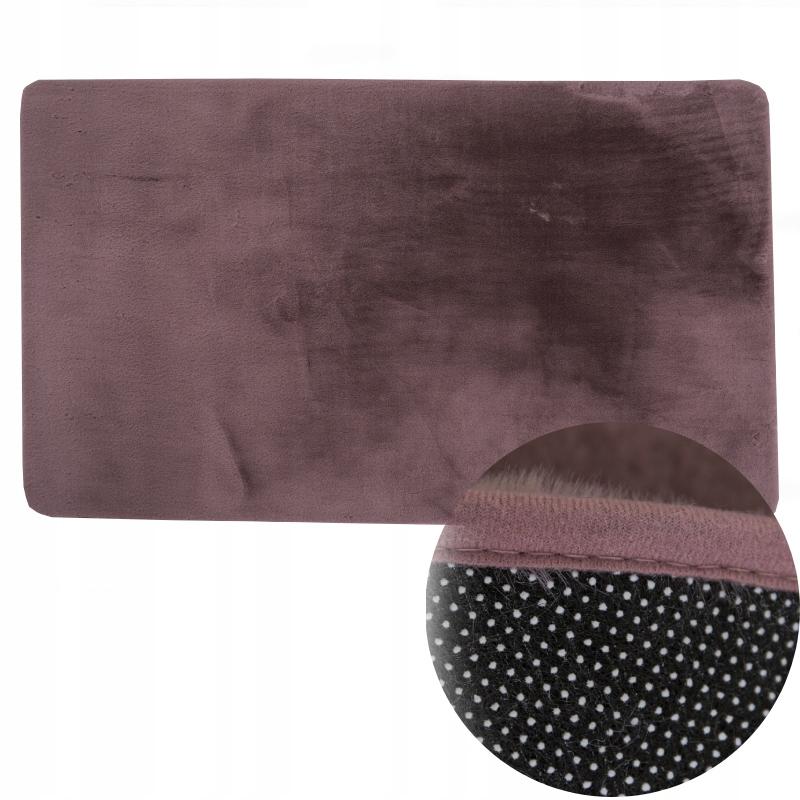 Коврик нескользящий плюшевый 60x90 грязно-розовый