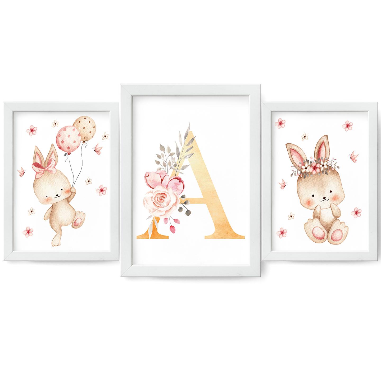 INICJAŁY Набор из 3-х детских постеров Кролик А3