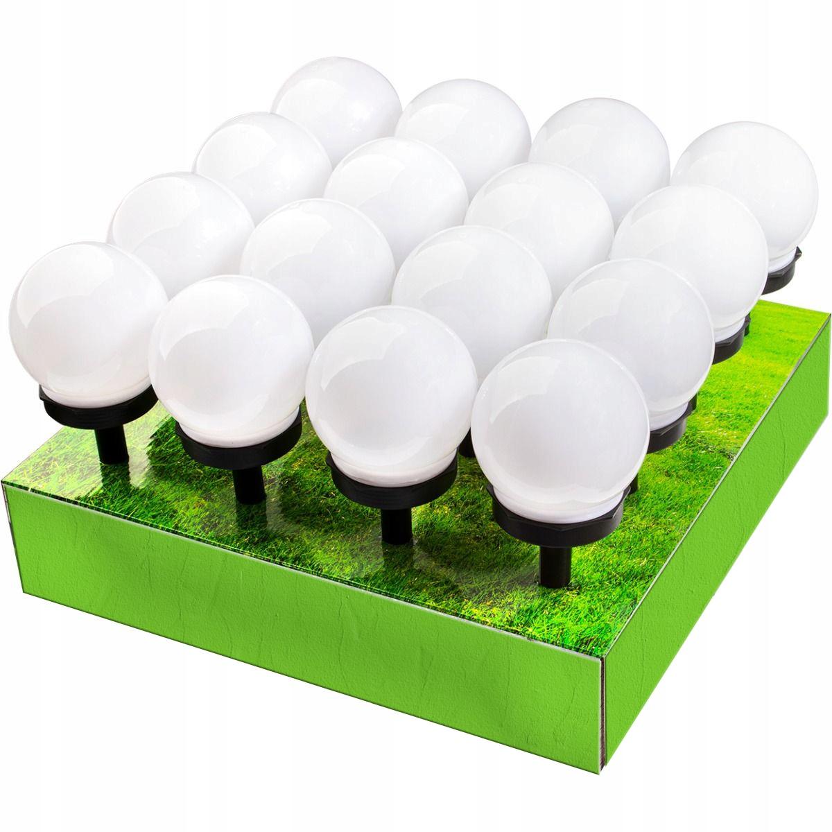 16x Lampa Ogrodowa LED SOLARNA kula biała 10 CM