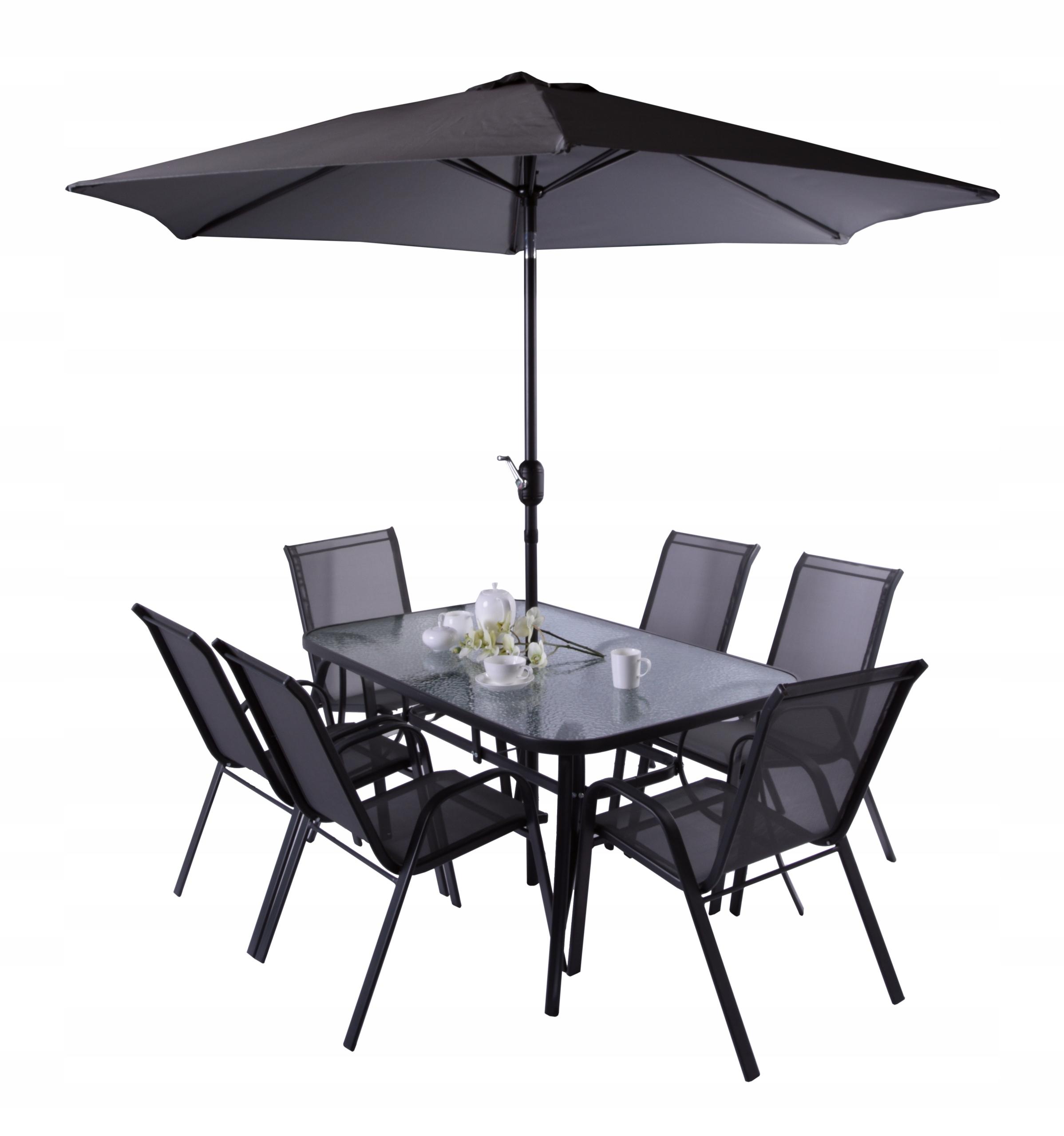 Meble ogrodowe stół 6 krzeseł antracyt parasol