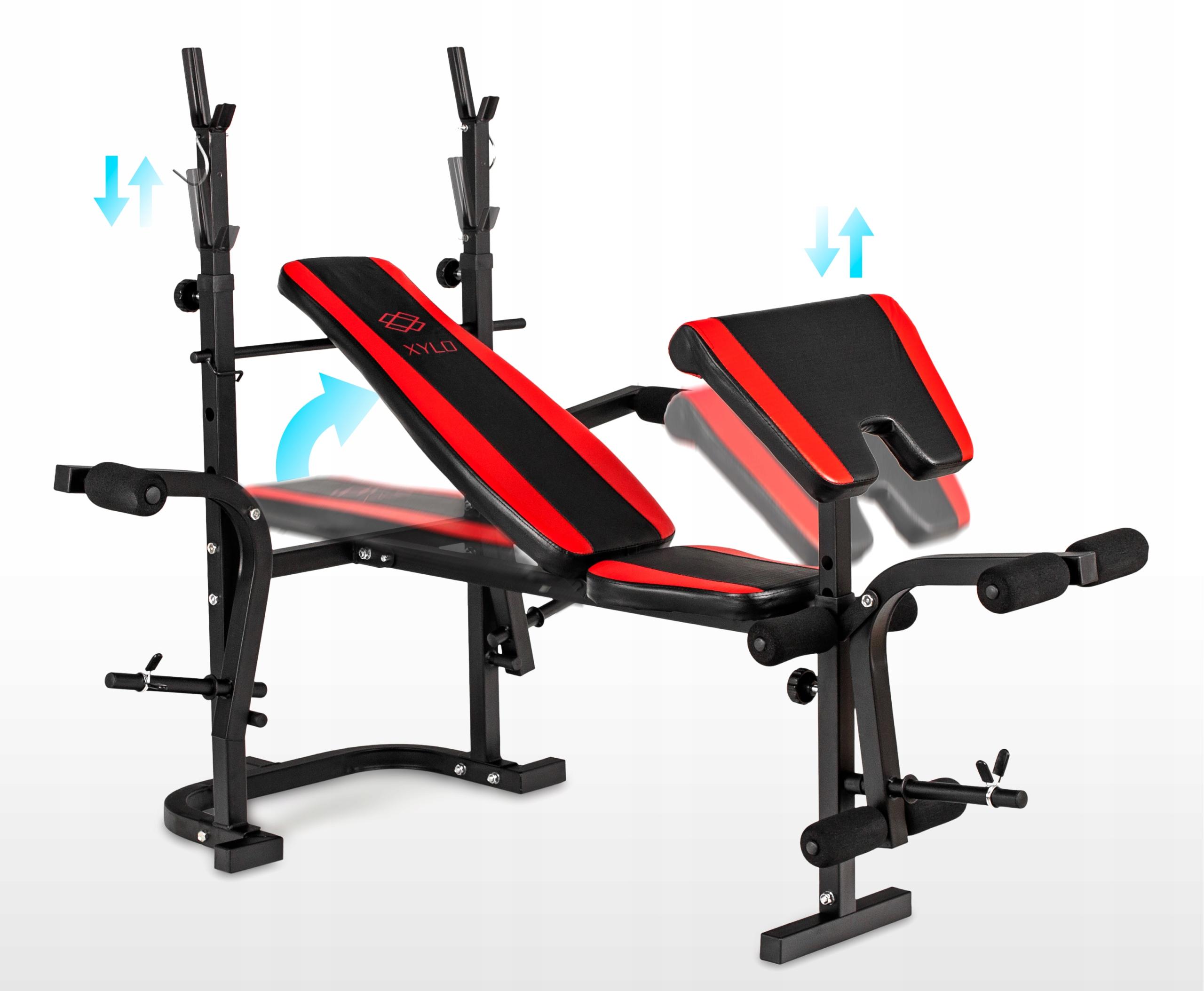 Xylo siłownia 191 kg zestaw ŁAWKA+GRYFY+OBCIĄŻENIA Wyposażenie dodatkowe modlitewnik prasa do nóg stacja motylkowa/rozpiętki stojaki