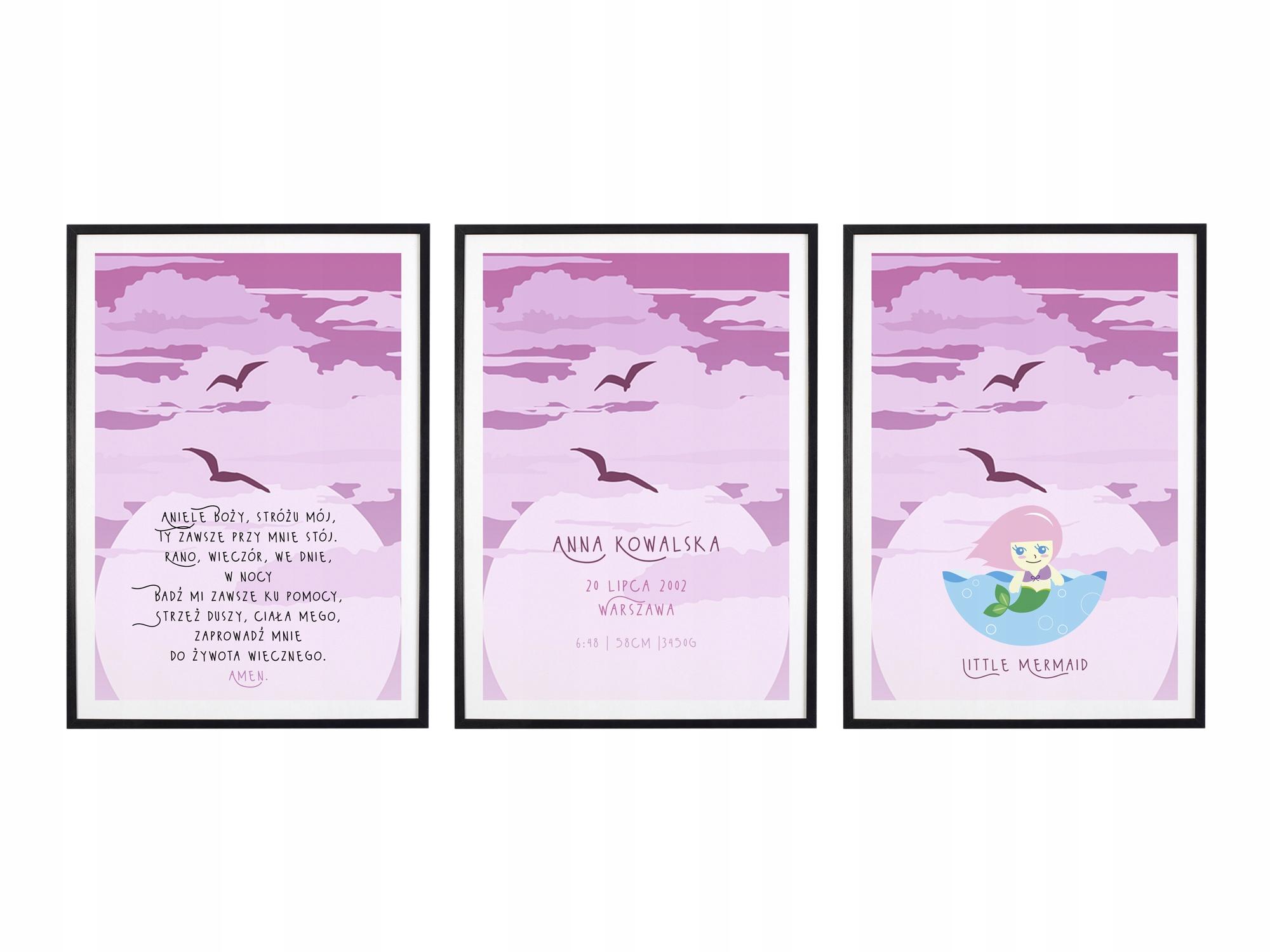 Плакат со свидетельством о рождении, молитва А3 с рамками триптиха M05