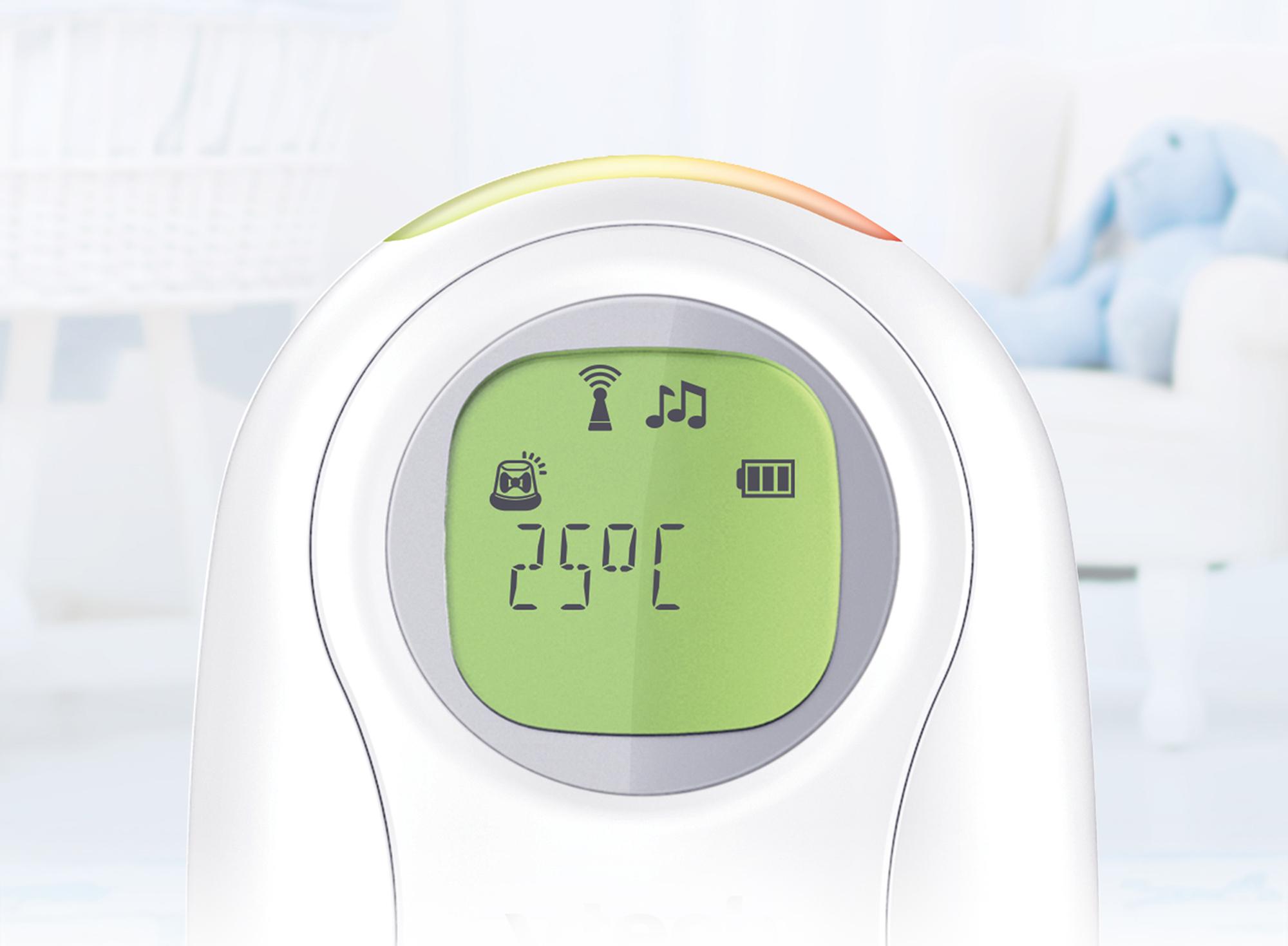 Niania elektroniczna audio VTech DM1214 Funkcje alarm przekroczenia zasięgu lampka termometr wskaźnik poziomu baterii