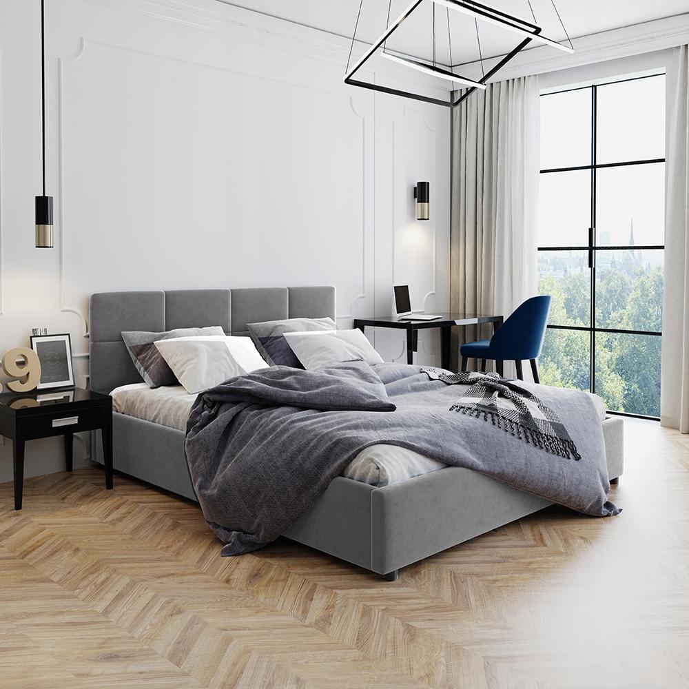 Łóżko Tapicerowane Popiel Welurowe Stelaż 160x200