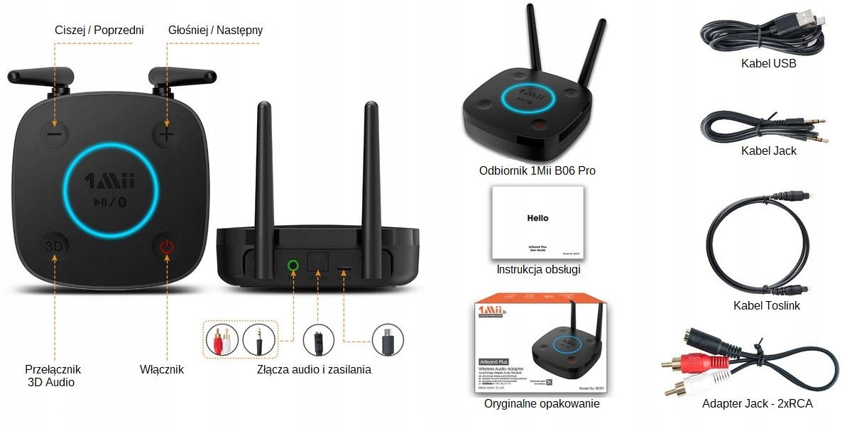 Odbiornik Audio Bluetooth 1Mii B06 PRO 60m Toslink Marka 1Mii