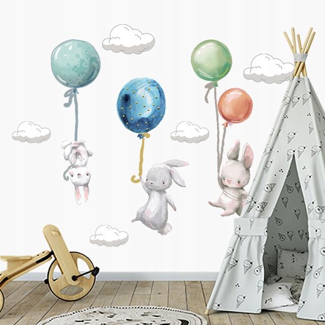 Кролики с воздушными шарами настенные наклейки для детей