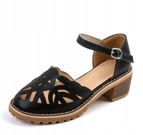 Retro prelamované sandále na podpätku s remienkom