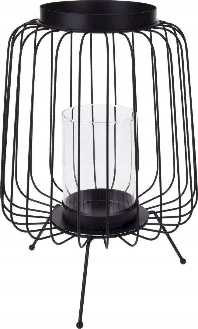 Kovový retro lampiónový svietnik 22x22x35 cm