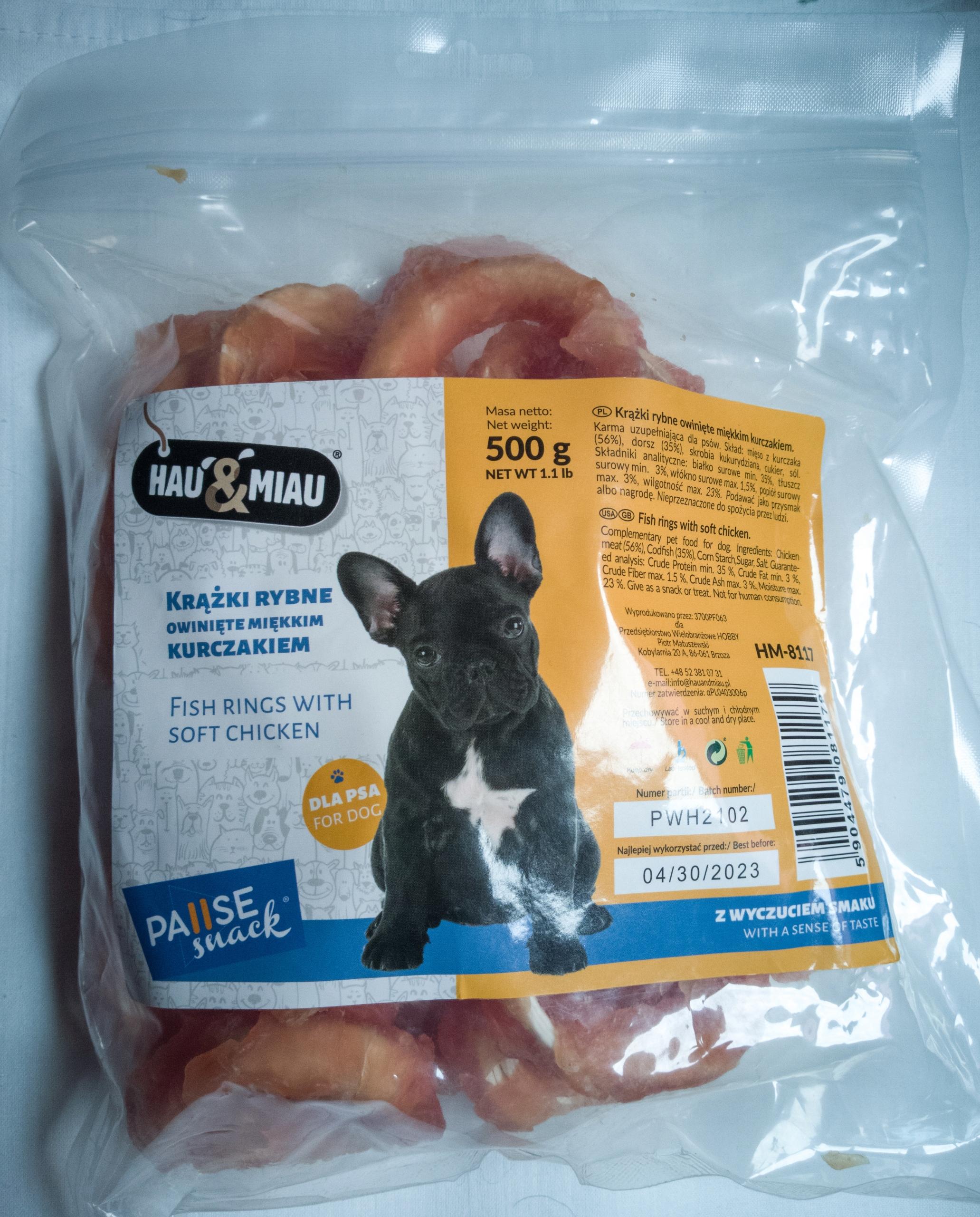 Рыбные кольца Hau & Miau в упаковке с курицей 500г