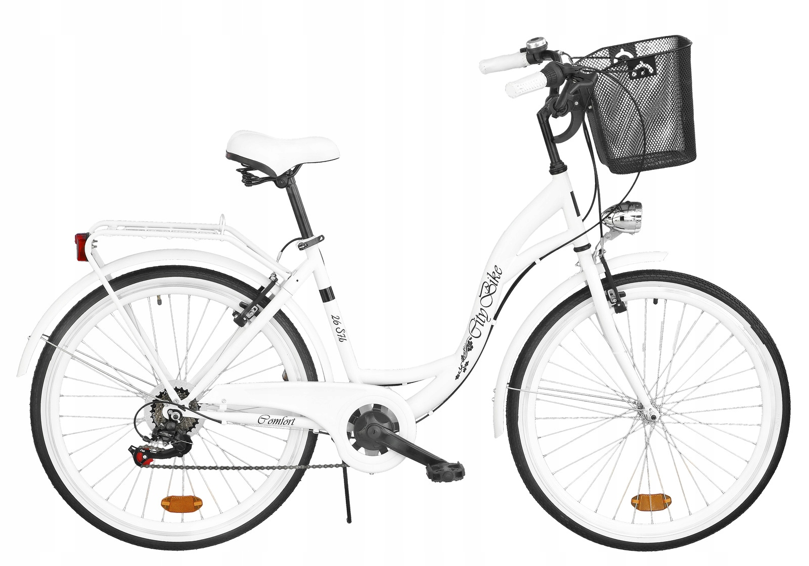 Dámsky mestský bicykel Citybike 26 palcov 7 Rush + KOŠÍK Biela farba
