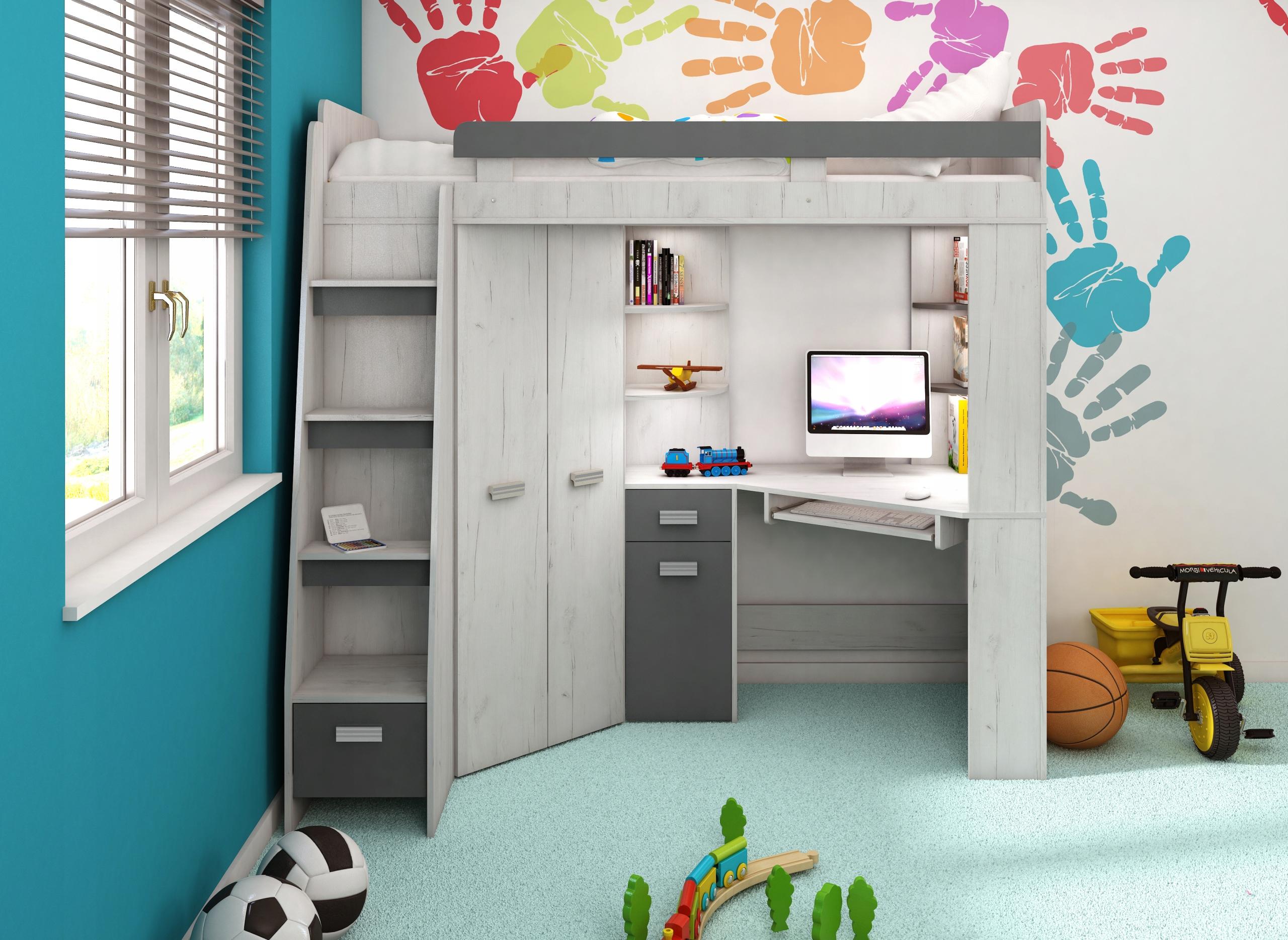 Двухъярусная кровать антресоль со шкафом и письменным столом ДЕШЕВО!