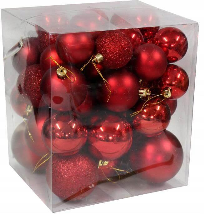 Vianočné gule - sada 46 ks - Červená