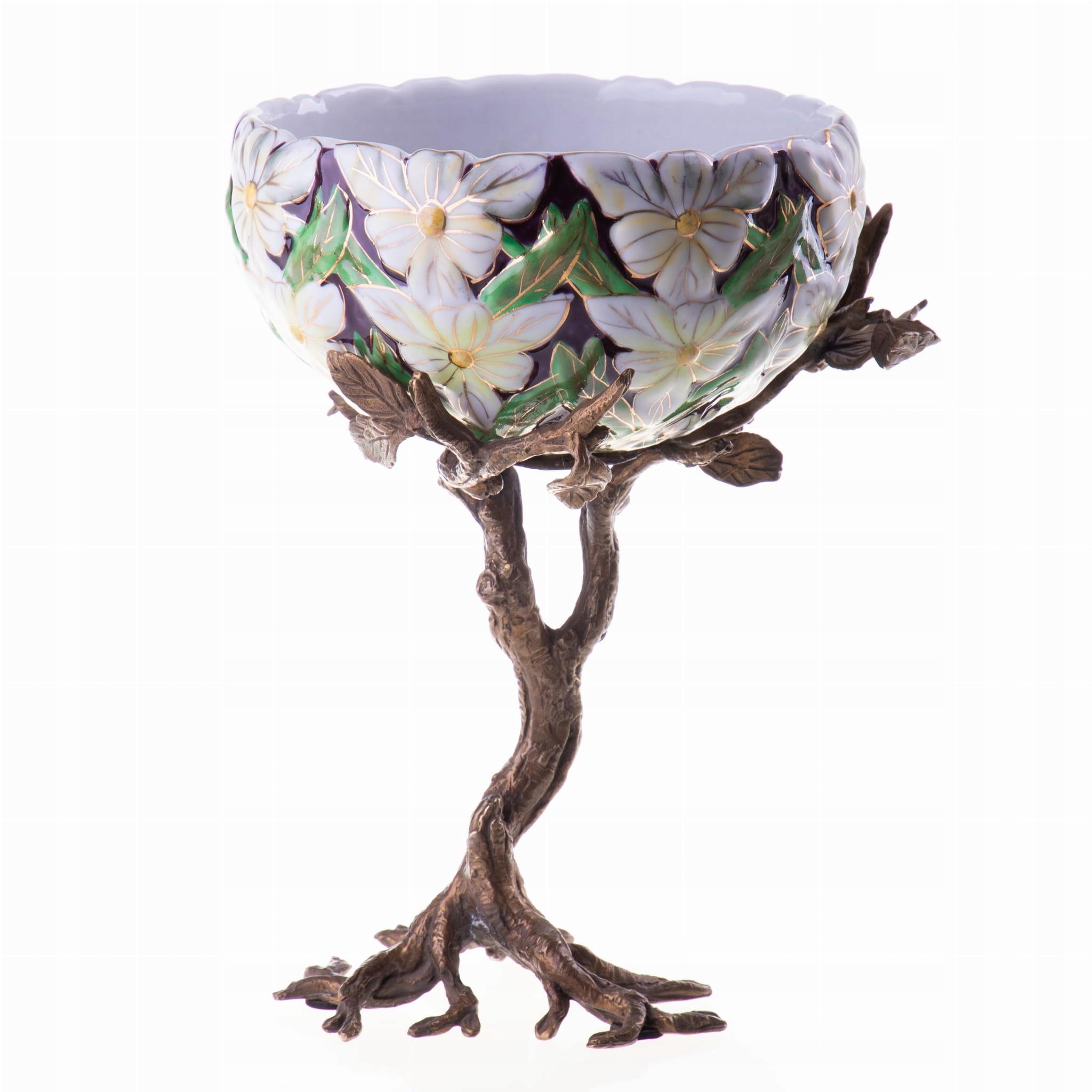 Váza Z Porcelánu Kvety Multi Farebné Retro