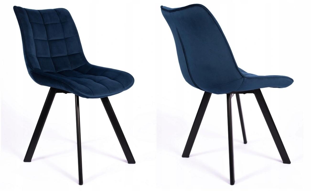 Krzesło Tapicerowane Pikowane Granatowe Welur Szerokość mebla 46 cm