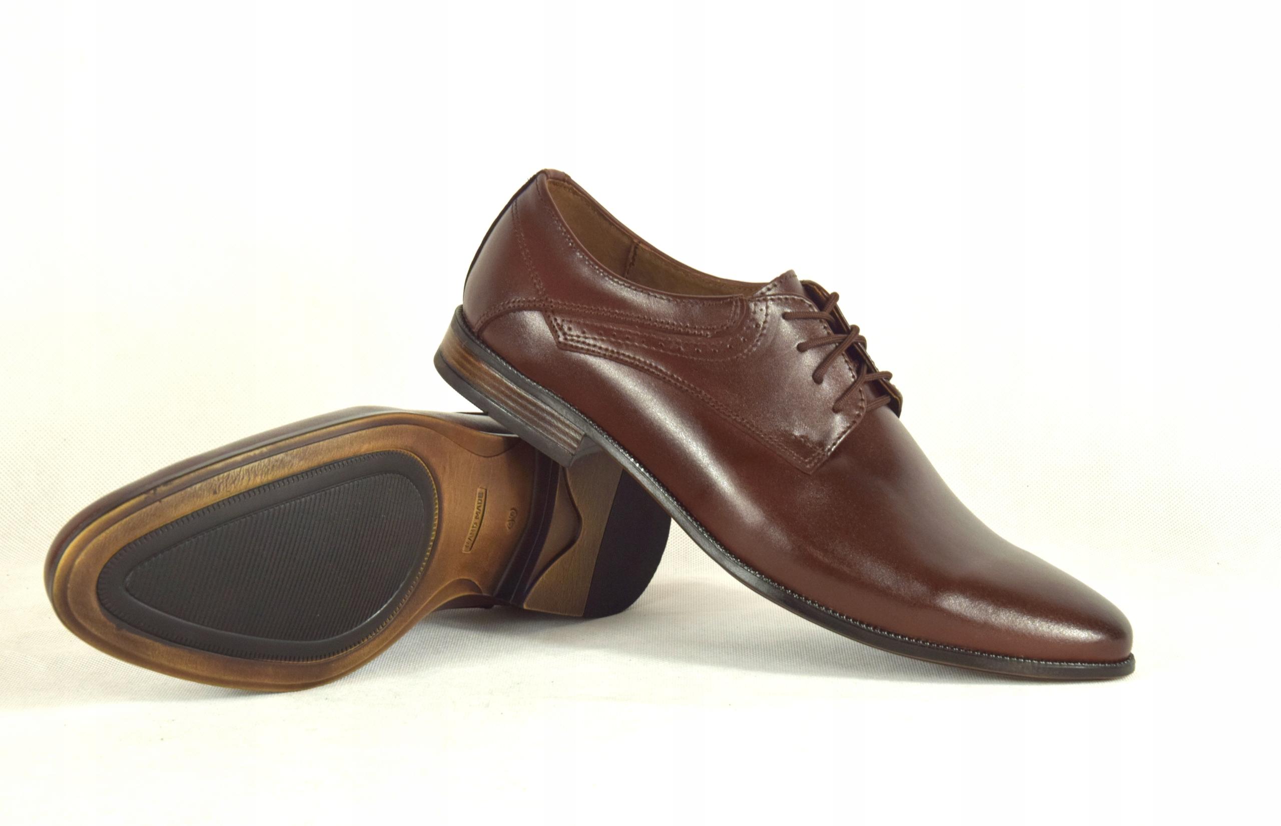 Buty męskie wizytowe skórzane brązowe obuwie 11 Kolor brązowy