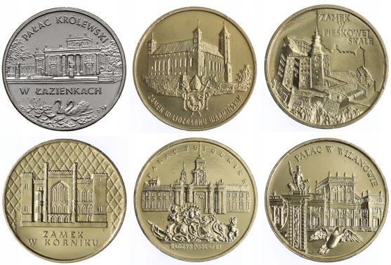 Seria monet 2 zł - Zamki i Pałace w Polsce (6 szt)