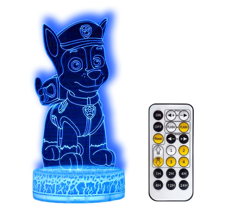 PSI PATROL PAW CHASE LAMPKA NOCNA 3D LED + PILOT
