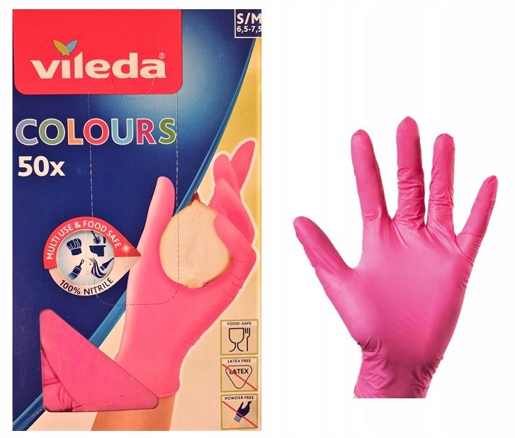 Перчатки Нитриловые Vileda Розовый S/M 50 шт.