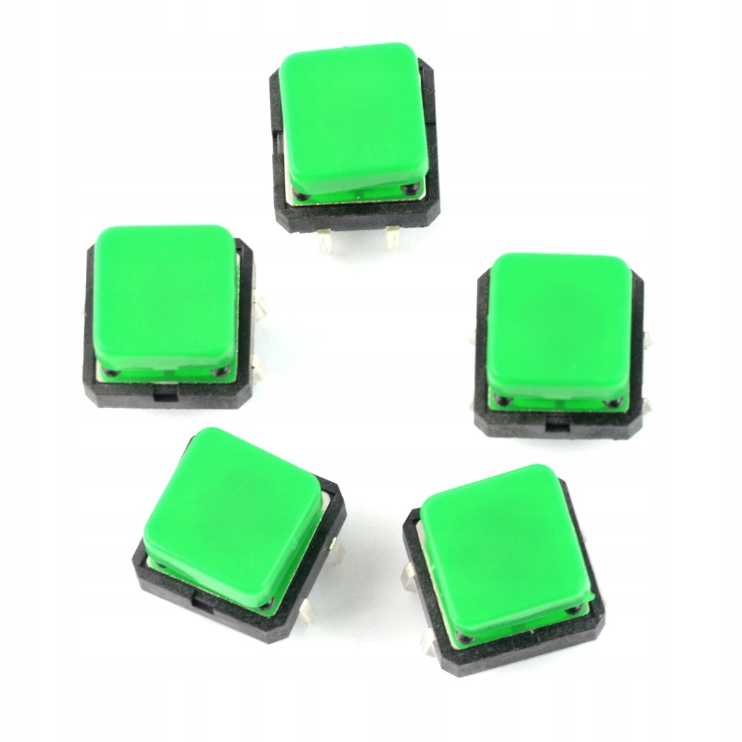 Такт Switch 12x12mm - квадрат, зеленый - 5шт