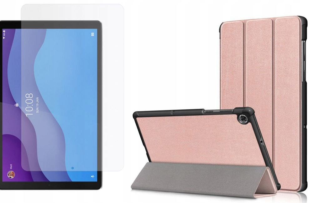 Etui do Lenovo Tab M10 2nd gen 10.1 Różowy + Szkło