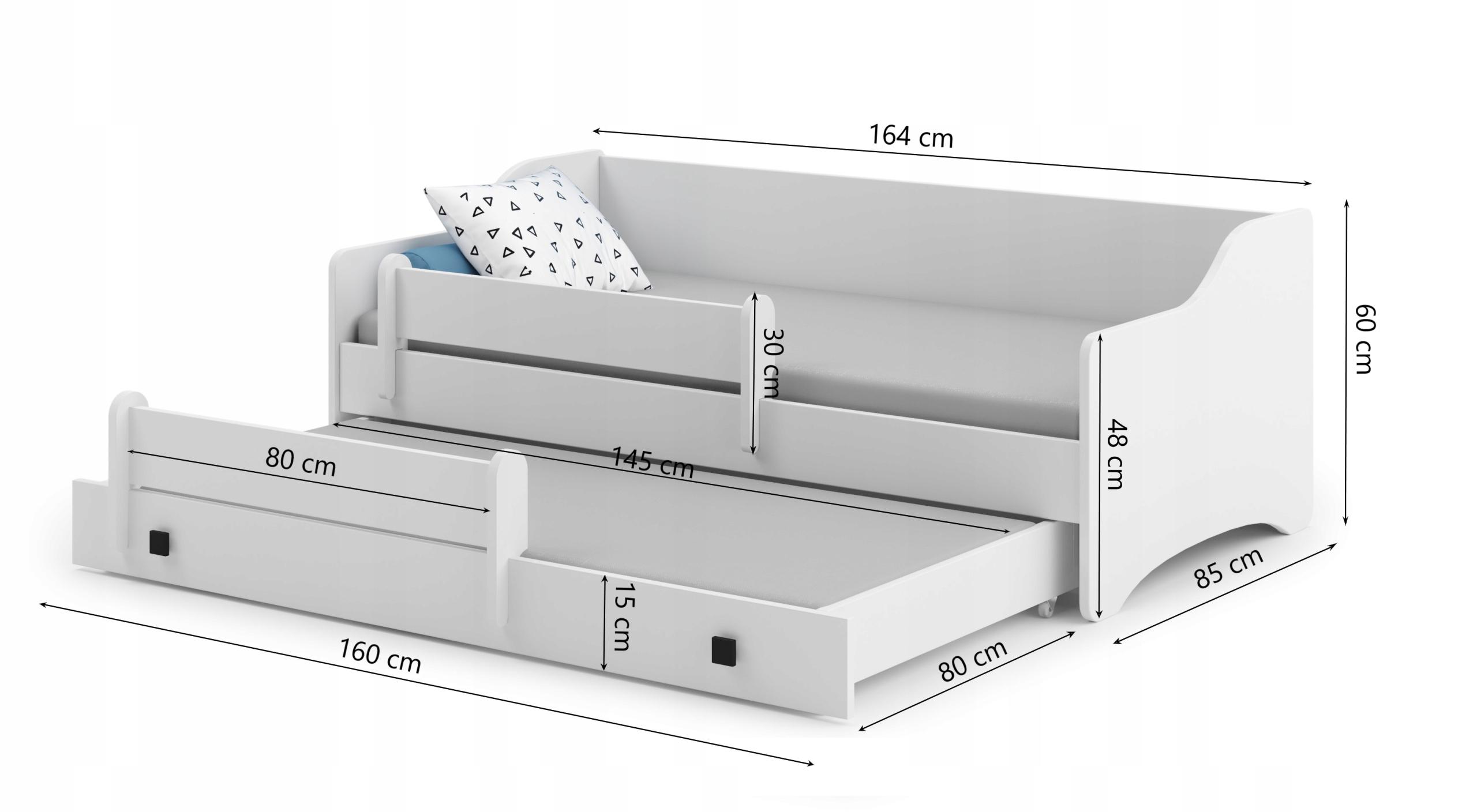Łóżko dziecięce podwójne ERYK II160x80 + materace Bohater brak