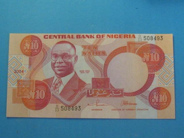 Nigeria Banknot 10 Naira 2004 UNC P-25g