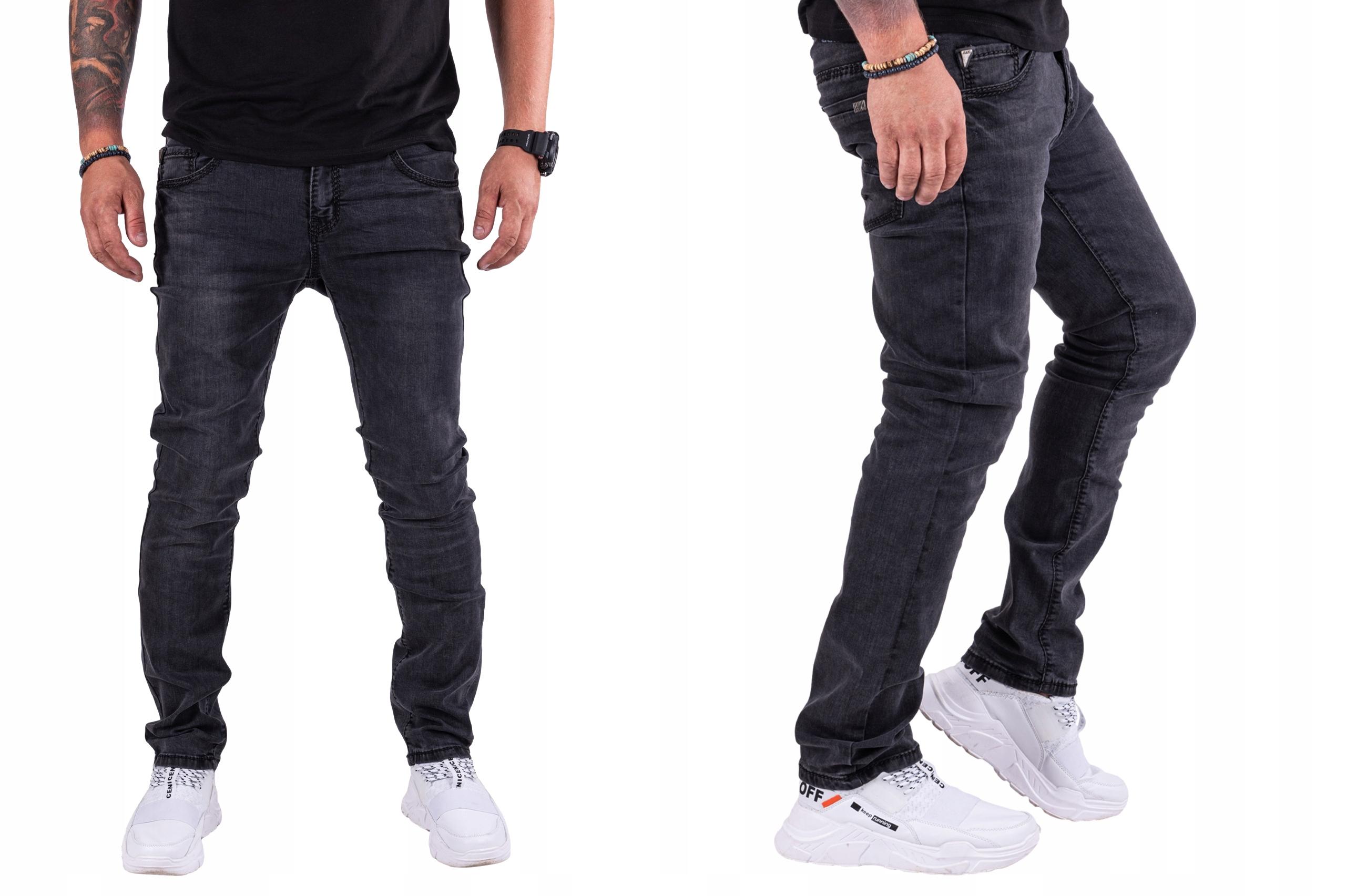 R.32 Spodnie JEANSY MĘSKIE slim czarne Aggeo