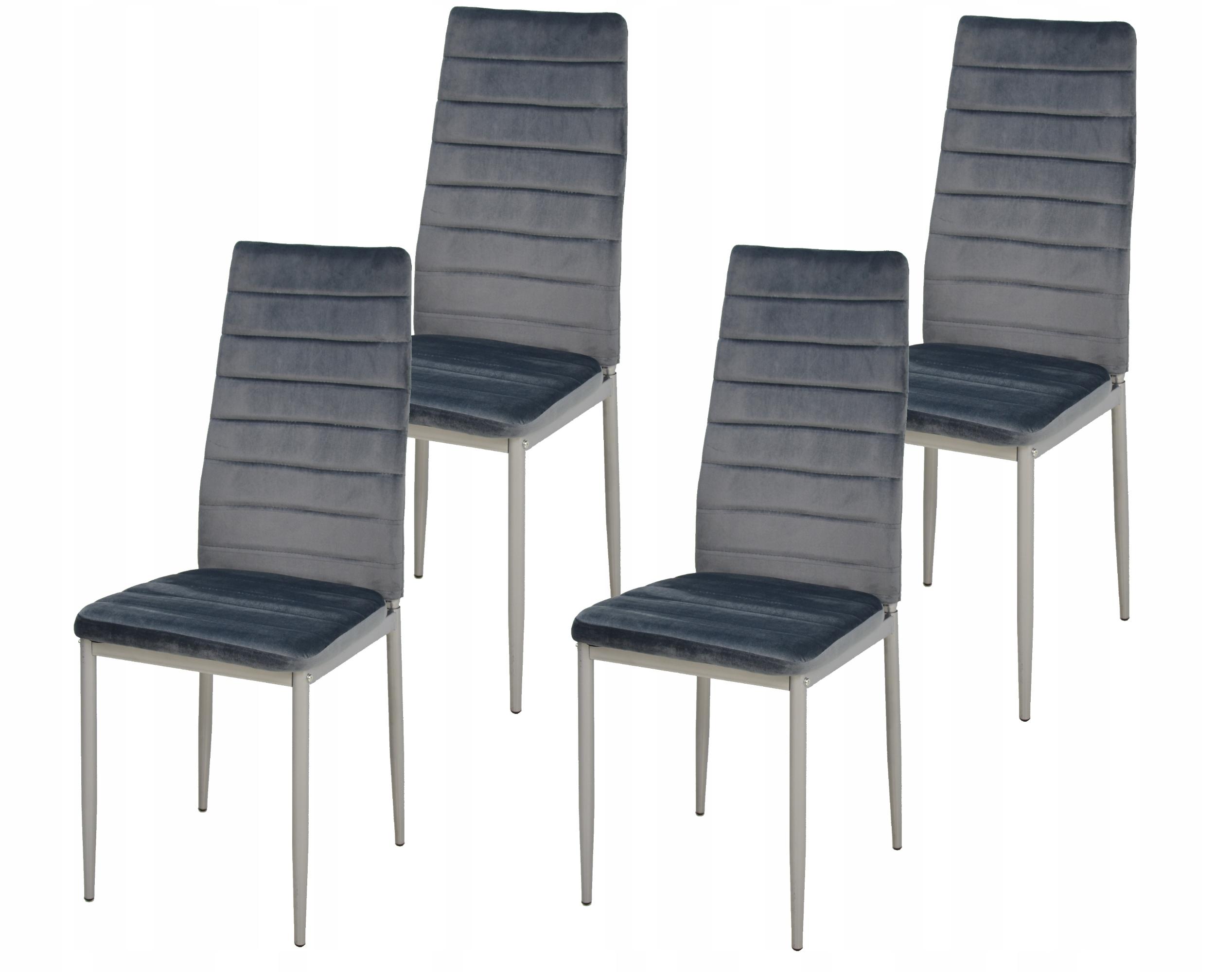 Nowoczesny zestaw 4 x krzesło CH-3 SZARY WELUR
