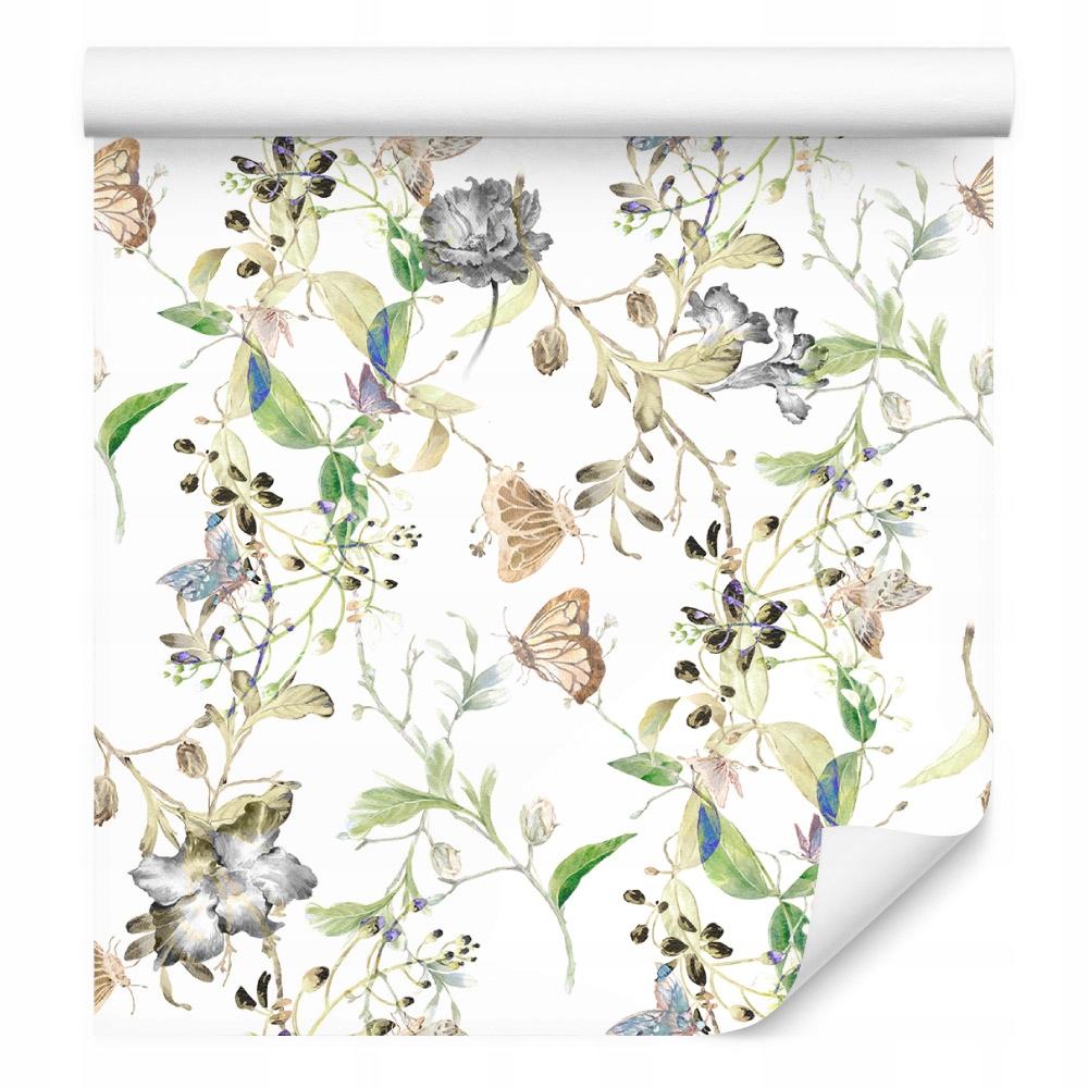 10m TAPETA Kvetiny Listy Akvarel Retro
