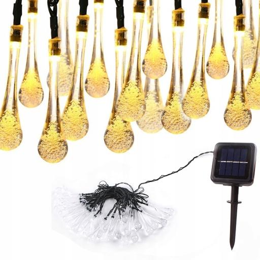 30 Led 6.5M Lampki Solarne Ogrodowe Żarówka Lampa