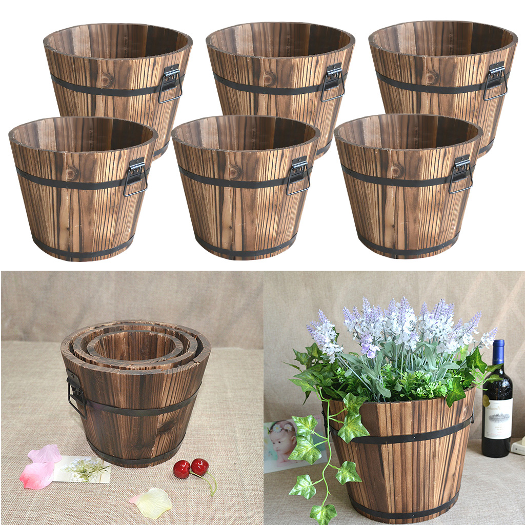 Retro drevený kôš pre kvetináčov
