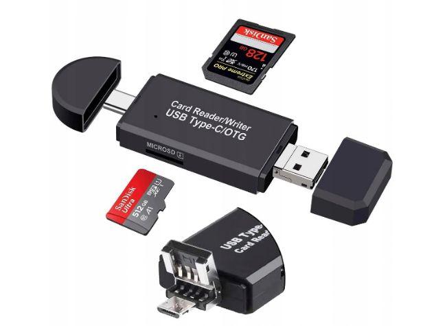 CZYTNIK KART SD MICRO SD USB USB-C MICRO USB 3w1