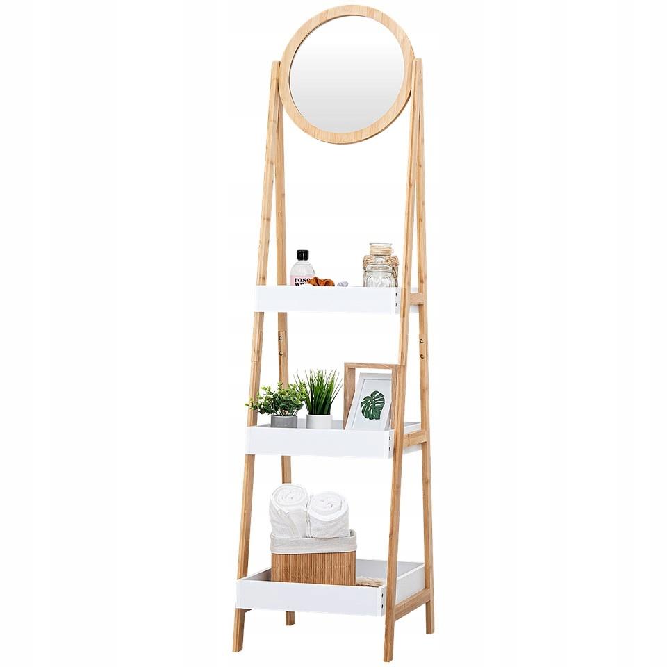 Настенная полка, бамбуковая полка, лестница с зеркалом