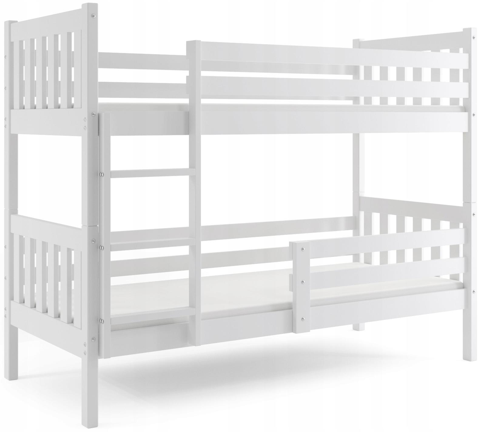 łóżko piętrowe drewniane Carino białe + materace