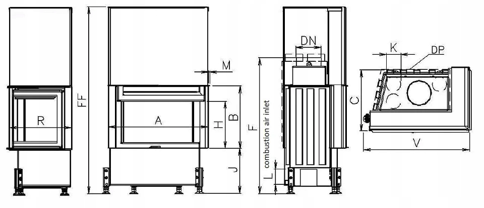 EKO VD 720/450/450 lewa szyba – Kobok - wkład stal Rodzaj wkładu Wkład powietrzny