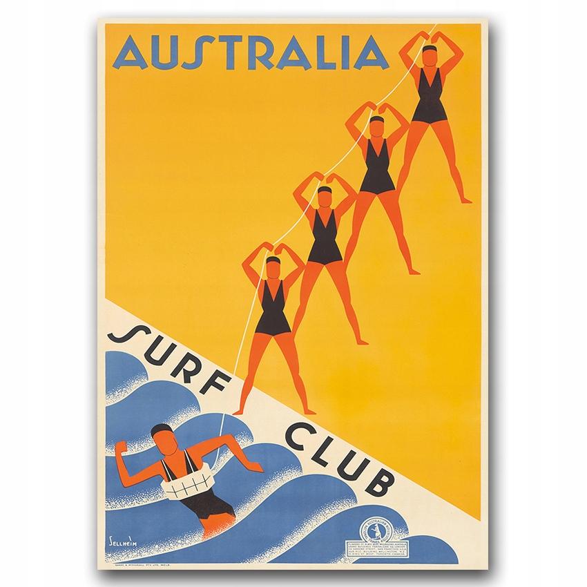 Retro plagát pre obývaciu izbu Australia Surf Club A2