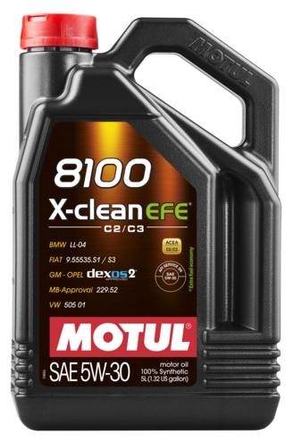 Двигатель Motul 8100 X-Clean EFE C2 / C3 5W30 5L 505.01