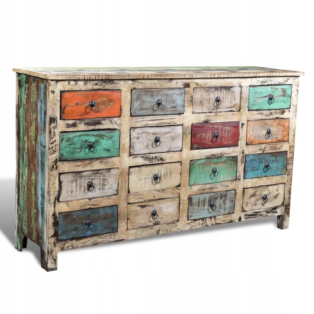 Farebné Zásuvky Vyrobené Z Dreva Obnovené 16 Boxy